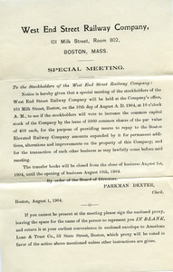 Circular letter from West End Street Railway Company to the stockholders