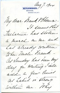 Letter from Annie Jean Lyman White to Florence Porter Lyman