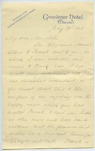 Letter from Alfred Tredway White to Florence Porter Lyman