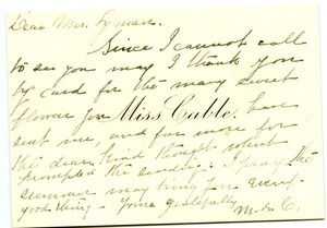 Letter from Miss Cable to Florence Porter Lyman
