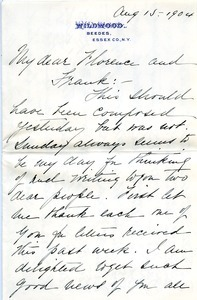 Letter from Annie Jean Lyman to Florence Porter Lyman and Frank Lyman