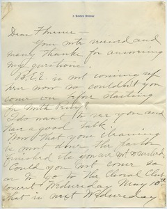 Letter from Sarah to Florence Porter Lyman