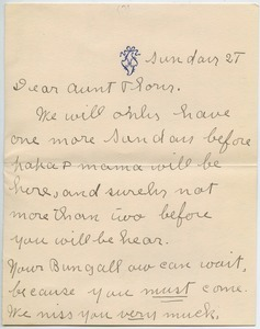 Letter from Alice Marion Moodey to Florence Porter Lyman