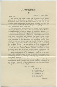 Circular letter from Amherst College alumni to fellow alumni