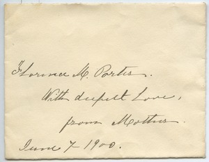Envelope addressed to Florence Porter Lyman from Hannah Chapin Moodey