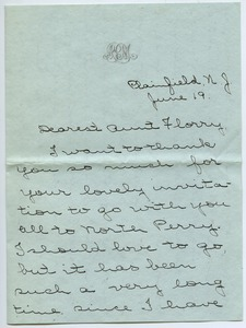 Letter from Antoinette Paine Moodey to Florence Porter Lyman