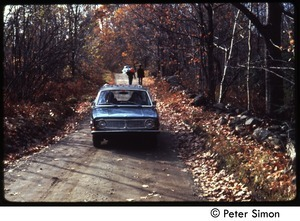 Car driving down a dirt road in fall, Tree Frog Farm commune