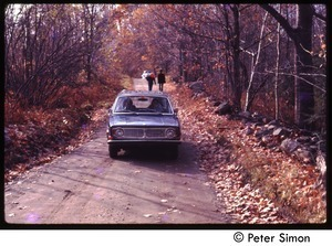 Volvo driving down a dirt road, with fall foliage, Tree Frog Farm Commune