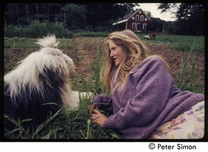Woman and English sheep dog, Tree Frog Farm commune