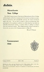 Commencement 1944. Bulletin Massachusetts State College 36, no. 2