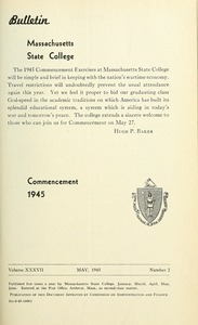 Commencement 1945. Bulletin Massachusetts State College 37, no. 2