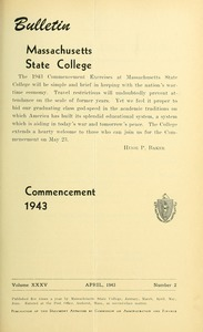 Commencement 1943. Bulletin Massachusetts State College 35, no. 2