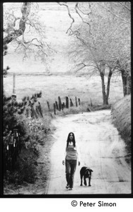 Grace with her dog Seguerro, on the path in Southern California