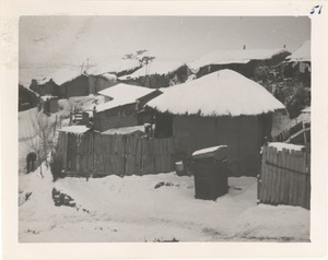 Snow-covered houses and sheds