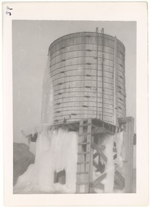 Ice-drenched water tower