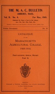 Catalogue, 1909-10. M.A.C. Bulletin vol. 1, no. 2