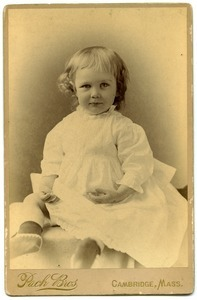 Alice Channing: studio portrait, seated, at 18 months age