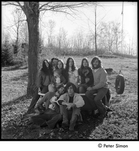 Tree Frog Fambly: Bonnie Fisher, Harry Saxman, Michelle Perkins, Lacey Mason, Jenny Rose, Catherine Marriot, dog, Elliot Blinder (top row); Peter Simon with cat, Tim Rossner (bottom row)