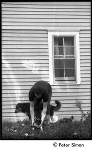 Harry Saxman with commune dogs (cat in background), Montague Farm commune