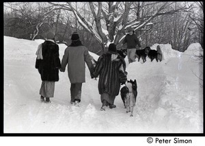 Elliot Blinder, Catherine Blinder, and Marcia Braun (l. to r.) walking down a snowy road with dogs, Tree Frog Farm commune