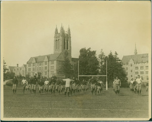 Boston College football team, running in place at the first practice, Brighton, Mass., 1925