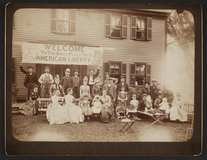 Independence Day celebration, on the front lawn of Fort Meadow Pond Farm, Marlborough, Mass., July 4, 1888