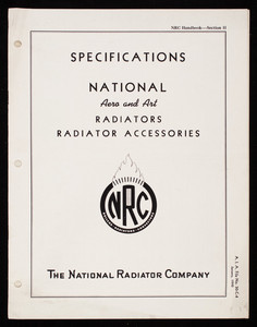 Specifications National Aero and Art Radiators Radiator Accessories, The National Radiator Company, Johnstown, Pennsylvania