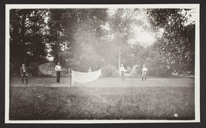 Four men playing doubles tennis in Mattapan, Dorchester, Mass., undated