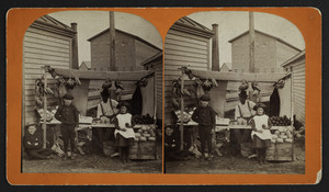 Stereograph of a street vendor and three children at a produce stand, Leominster, Mass., 1888