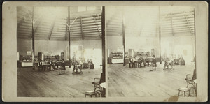 Stereograph of an interior view of the Forest Circle Ice Cream Saloon, Rocky Point, Warwick, R.I., undated