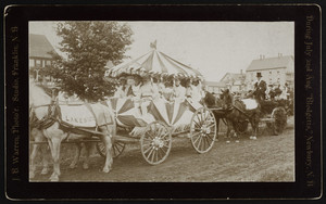 Decorated wagons in a parade, Blodgett Landing, Newbury, N.H., ca. 1894
