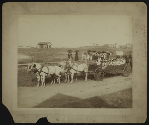 Decorated wagon with group of women, Hampton Beach, N.H., ca. 1881