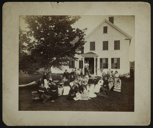 Exterior view of a group of men and women outside a home, Portsmouth, N.H., undated