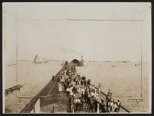 Crowd on ferry pier, Provincetown, Mass., undated
