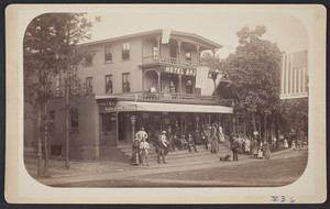 Group of people standing on the stairs of the Hotel Brockton, Brockton, Mass., 1880