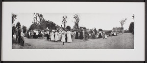 Groups of people attending a presentation, Petersham, Mass., July 2, 1909