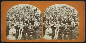 Stereograph of a congregation sitting inside the tabernacle, Oak Bluffs, Mass., Aug. 27, 1877