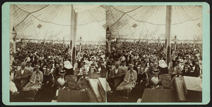 Stereograph of a congregation sitting inside a tabernacle, Oak Bluffs, Mass., undated