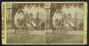 Floats in the Fourth of July parade in front of the public library, Newburyport, Mass., 1870