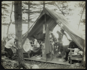 Girls in a tent, Denmark, Maine, undated