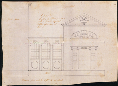 Exterior elevation of the hyphen and right-hand wing, Jonathan Leavitt House, Greenfield, Mass., ca. 1797