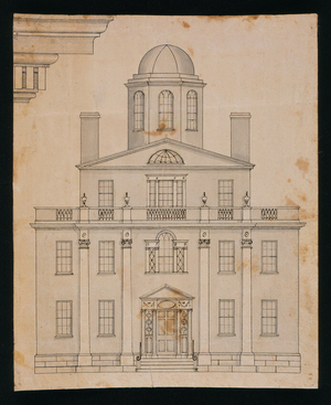 Front elevation and detail drawing of an unidentified building, designed by Asher Benjamin, location unknown, ca. 1800