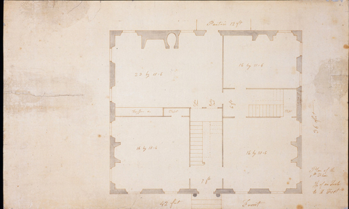First floor plan of an unidentified house, designed by Samuel McIntire, location unknown, ca. 1802-1805. No. 1