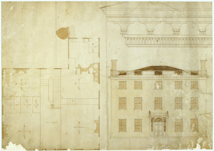 Detail drawing, front elevation, and floor plan, James A. Rundlet House, Portsmouth, N.H., ca. 1806