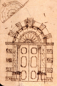 Front elevation and detail drawing of an unidentified doorway, location unknown