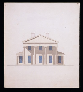Front elevation of an unidentified house, designed by Joseph C. Howard, location unknown, ca. 1844-1845