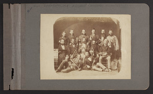 Group of men with trumpets, tubas and drums, Sherborn, Mass., undated