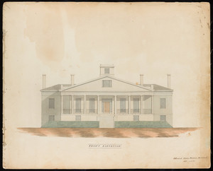 Front elevation of the William Wilkins Warren House, Arlington, Mass., 1840