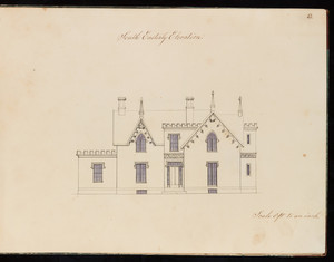 Southeastern elevation of an unidentified Gothic Revival house, designed by Edward Shaw, location unknown, 1846