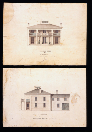 Front elevation of the Augustus Clarke House, Northampton, Mass., 1842